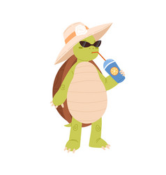 Cute and funny turtle drinking cocktail cool vector