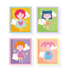 Cute stamps cartoon comic girls and boy clouds vector