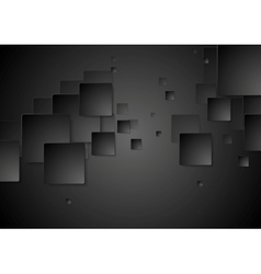 Dark black geometric squares tech background vector