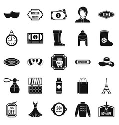 Discounts icons set simple style vector