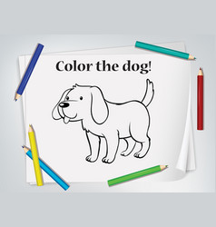 dog cartoon doodle on paper with many color vector image