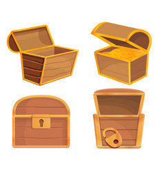 dower chest icons set cartoon style vector image