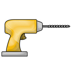 drill tool icon in colored crayon silhouette vector image