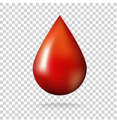 drop of blood on transparent background vector image