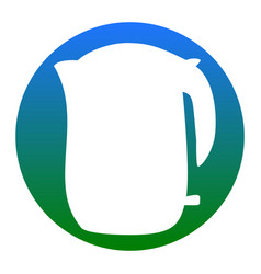electric kettle sign white icon in bluish vector image