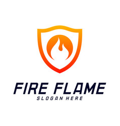 fire shield logo design template shield fire logo vector image