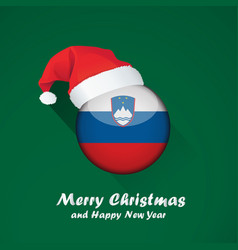 Flag of slovenia merry christmas and happy new vector
