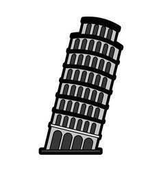 Flat leaning tower pisa vector