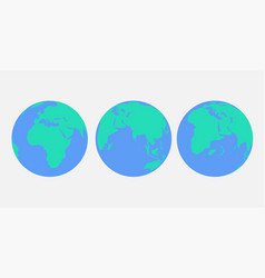 Flat planet earth set icon vector