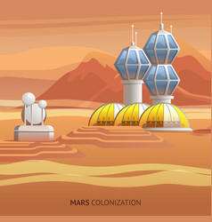 Flat scientific base on surface mars vector