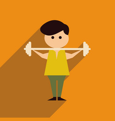 Flat web icon with long shadow man barbell vector
