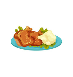 Fried chicken legs and mashed potatoes tasty dish vector