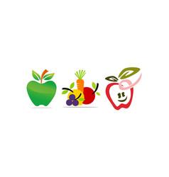 Fruit vegetable template set vector