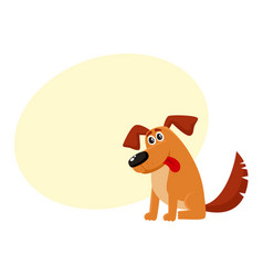 Funny dog puppy character sitting with tongue out vector