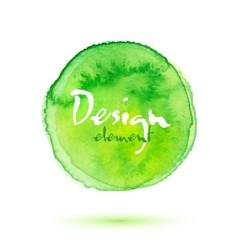 Green watercolor painted textured circle vector