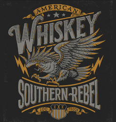 Hand drawn eagle whiskey label vector