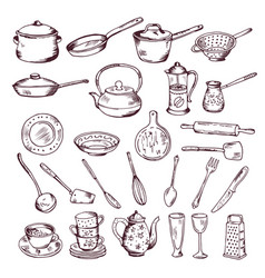 Hand drawn of kitchen tools vector