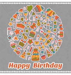Happy Birthday card Hand drawn birthday elements vector image