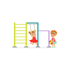 Happy kids having fun on playground in vector