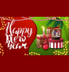 happy new year greeting red and green postcard in vector image