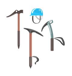 Ice axes and blue helmet equipment vector