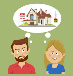just married couple dreaming about new house vector image