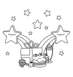 Kawaii stars and happy birthday design vector