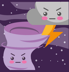 Kawaii thunder cloud and twister cartoon weather vector