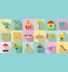 Kid playground icon set flat style vector