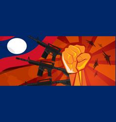 Laos war propaganda hand fist strike with arm vector