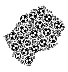 Lesotho map collage of football spheres vector