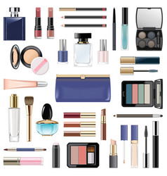 Makeup cosmetics with blue cosmetic bag vector