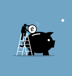 man climbing up on a ladder and putting money vector image