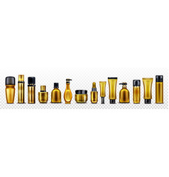 Mockup golden cosmetic bottles and tubes vector