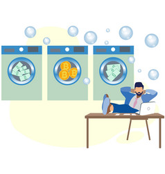 money laundering a man in dry cleaning erases vector image