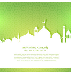 Mosque silhoutte in green pattern background vector