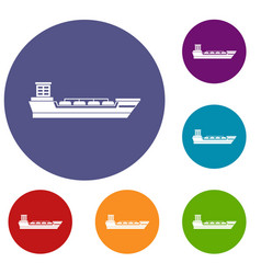 Oil tanker ship icons set vector