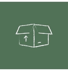 Open box with arrow icon drawn in chalk vector