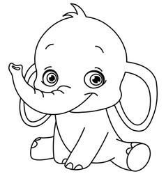 outlined baby elephant vector image