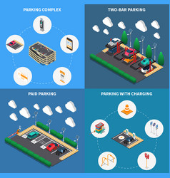 Parking isometric concept vector