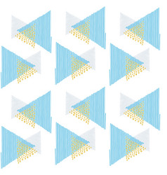 pattern triangles blue scribble and points gold vector image