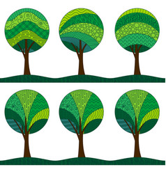 patterned trees seamless pattern vector image