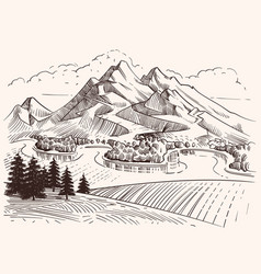 pencil drawing mountain landscape cartoon sketch vector image