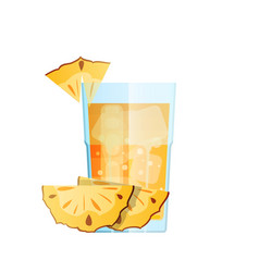 Pineapple juice with ice and slices fruit in vector