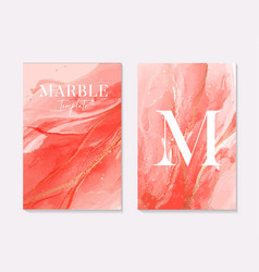 pink coral contrast liquid red alcohol ink marble vector image