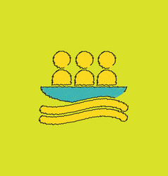 Rafting kayaking team design in hatching style vector