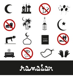 ramadan islam holiday black icons set eps10 vector image