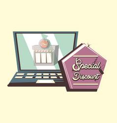 retro shopping style vector image