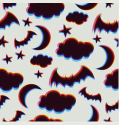 seamless pattern with clouds bats stars moon vector image