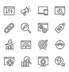Search engine optimization thin line icons set vector